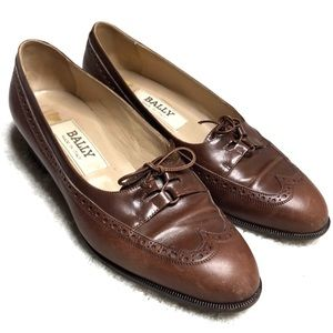 Bally Brown Loafers Size 6 Lace Up Heeled Shoes